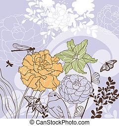 floral, encantador, cartão