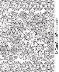 floral, encantador, coloração, página