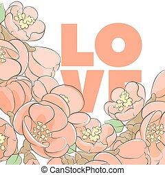 floral, encantador, ilustração