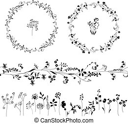 Floral endless pattern brush made of different plants. ...