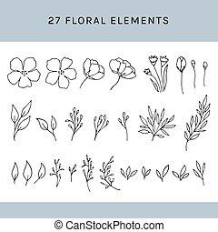 floral, ensemble, éléments