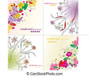 floral, ensemble, arrière-plans