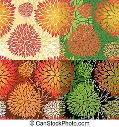 floral, ensemble, arrière-plans, seamless, 4