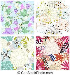 floral, ensemble, arrière-plans, seamless
