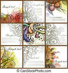 floral, ensemble, backgrounds.