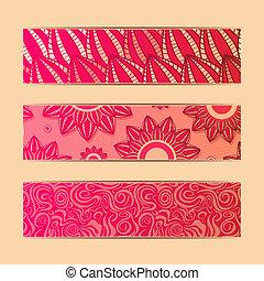floral, ensemble, bannière, carte rouge