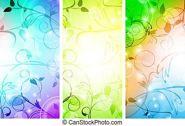 floral, ensemble, bannière