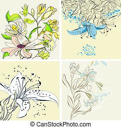 floral, ensemble, carte