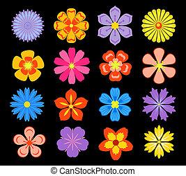 floral, ensemble, fleurs, éléments