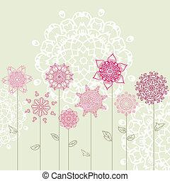 floral entwurf, mit, arabesken
