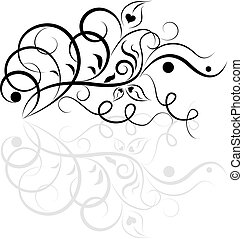 floral entwurf, weißes, schwarz, element.