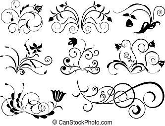 floral entwurf, weißes, schwarz, elements.