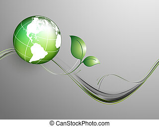 floral environmental vector frame with globe