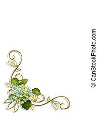 floral, esquina, hydrangea