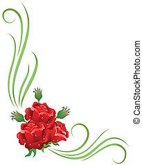 floral, esquina, ornamento