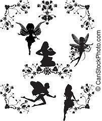 floral, esquinas, conjunto, hadas