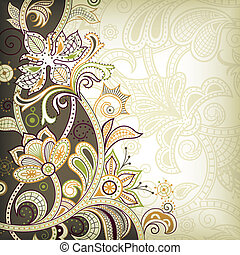 floral, estilo, indio