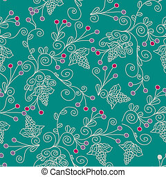 Floral ethnic seamless pattern with grape