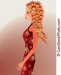floral, excitado, cabelo, mulher