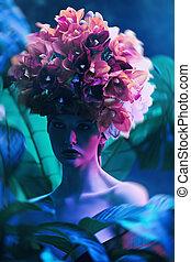 floral exotic headgear - Fashionable female model posing ...