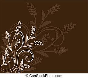 floral, experiência marrom