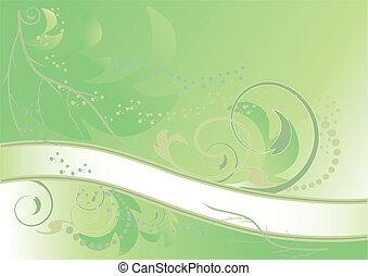 floral, extracto verde, bandera