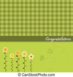 floral, félicitation, carte