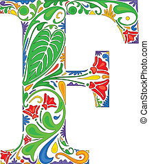 Colorful floral initial capital letter F