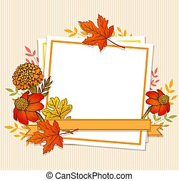 Floral fall frame with leaves