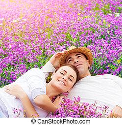 floral, famille, jeune, clairière