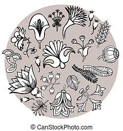 floral, fantasia, elementos