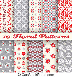 Floral fashionable vector seamless patterns (tiling). Retro red and grey colors. Endless texture for printing onto fabric and paper, scrap booking. Set of abstract pretty chic background