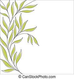floral, feuilles, arrière-plan vert
