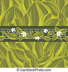 floral, feuilles vertes, frontière