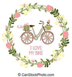 floral, fiets, krans