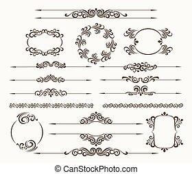 Floral filigree design element set