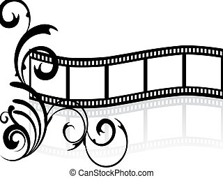 illustration of a floral elements on a blank film stripe