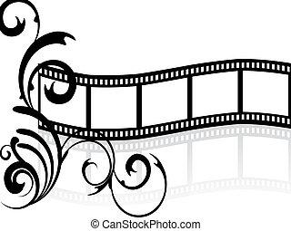 floral film stripe - illustration of a floral elements on a...