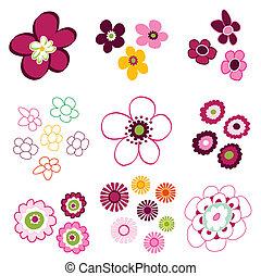 floral, fleur, éléments
