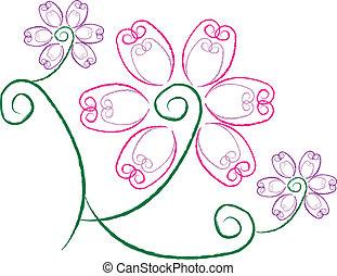 floral, fleur, conception