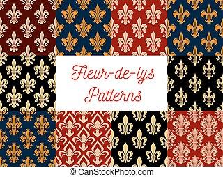 Floral fleur-de-lis vector seamless patterns set