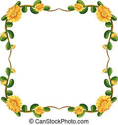 floral, fleurs, frontière, jaune