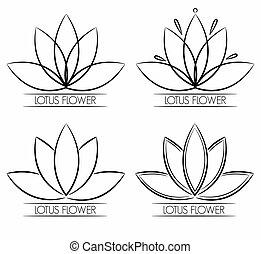 floral, flor de loto, logotipo, resumen