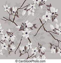floral, flor, seamless, padrão