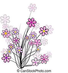 floral, flores côr-de-rosa, cartão