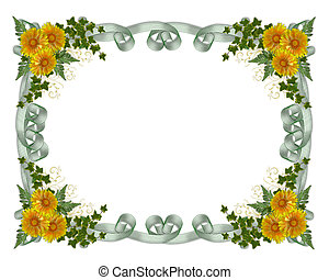 floral, flores, frontera, amarillo
