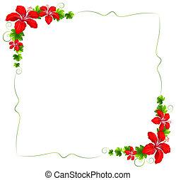 floral, flores, frontera, rojo