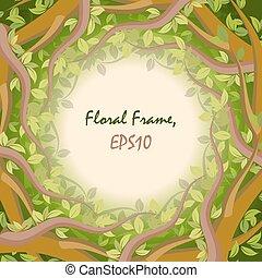 floral, floresta, quadro