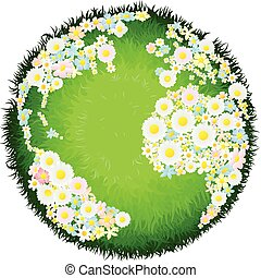 A world earth globe with continents made up of flowers and seas as grass. Concept for environmental issues or peace.