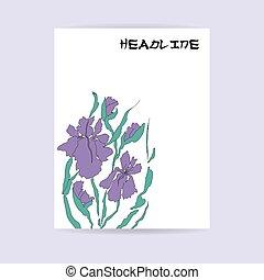 Floral flyer design. Hand-drawing ink illustration.
